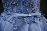 Blaue Spitze-Satin-Kugel-Brauthochzeits-Abend-Kleid