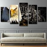 Segeltuch-Wand-Kunst-Bilderrahmen-Foto-modulares Farbanstrich-Ausgangsdekorative 5 Stücke Eagles-Motorrad-moderne HD gedruckte Plakat-