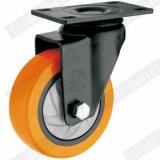 (주황색) 옆 브레이크를 가진 중간 의무 PU 회전대 바퀴 피마자 (단 하나 방위) (G3216E)