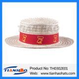 Grama do Trigo Boater moda Chapéu de Palha com fita