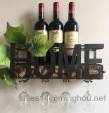 Rek van de Wijn van het metaal het Muur Opgezette met de Opslag van de Houder en Cork van het Glas
