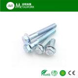 Gr8.8 Gr4.8の青い亜鉛によってめっきされる炭素鋼の十六進フランジのボルト(DIN6921)