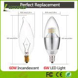 Luz de la vela de Dimmable 6W (60W equivalente) E12 E14 E27 LED para la iluminación casera