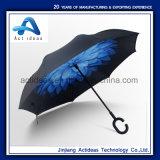 Ombrello invertito inverso promozionale con la maniglia di figura di C, ombrello aperto del manuale di Handfree, automobile Umbrell, ombrello lungo diritto di doppio strato di Rainshade