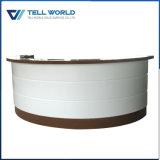 Salon commercial ronde blanc incurvé comptoir de réception de la conception de bureau