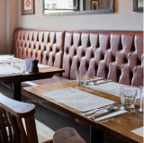 (SD-4004) Chesterfield 부스 소파를 위한 가죽 나무로 되는 대중음식점 가구
