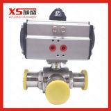Instalações sanitárias em aço inoxidável Pórtico T válvulas de esfera com pneumáticos do Atuador
