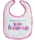 O costume do produto do fornecedor de China bordou o Bib cor-de-rosa do bebê do acionador de partida de Jersey do Knit do algodão