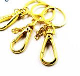 강철 훅 사슬 부속품을%s 가진 니켈에 의하여 도금되는 금속 쪼개지는 열쇠 고리