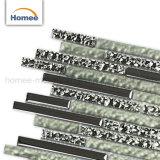 Tira de nuevo diseño de vidrio de color verde brillante Electroplate Plata mosaico de vidrio