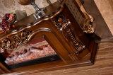 Cheminée électrique de la sculpture TV en Brown de meubles à la maison antiques du stand DEL