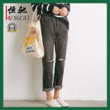Mode de vente chaude endommagé plaine jeans skinny Femmes