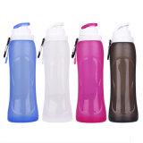 bewegliche zusammenklappbare Sport-Wasser-Flasche des Silikon-500ml für das Wandern