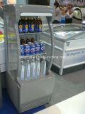 細いColdflowの直立した飲料の外気のクーラーのスーパーマーケットRefriegrator/の表示開いた前部ショーケース