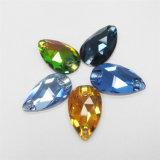Queda de água do lado de design em pedra cristal de costura para acessórios de vestuário