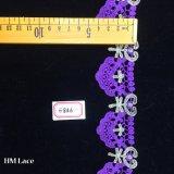 4.5cm紫色の薄いベニスのレースのトリムは、花嫁のベールの結婚式のトリムファブリックHme856をかぎ針で編む