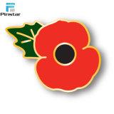 Distintivi poco costosi all'ingrosso di Pin del risvolto della bandierina dell'Inghilterra di figura dello schermo del fiore del papavero del ricordo