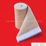 Atadura de compressão elástica do algodão elevado da porcentagem com fechamento de Velcro (B501)