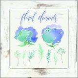 Encantadora flor actual la impresión de lienzo con bastidor en lavar blanco