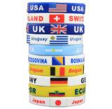 Le constructeur folâtre le bracelet respectueux de l'environnement de silicones d'impression d'indicateurs de pays de Jeux Olympiques