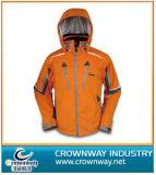 Оранжевый лыжные Куртка с удлиненной худи с мягкими вставками