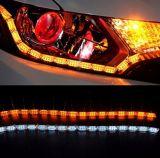 車LEDの滑走路端燈のヘッドライト、明るく適用範囲が広い車LEDの白いですかこはく色の昼間の連続したライトDRL回転シグナルライト