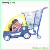 子供車の形のスーパーマーケットのショッピング手のトロリー子供のカート