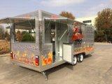 セリウムのハンバーガーの食糧ウォーマーのポップコーンが付いている4つの車輪ジュースの移動式台所