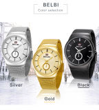 Zilver van het Horloge van het Kwarts van het Polshorloge van de Mensen van het Roestvrij staal van Belbi keurt het Slanke Zwarte Gouden de Zaken van de Dienst goed OEM&ODM