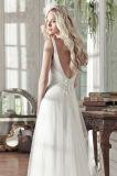 Os vestidos de noite nupciais Tulle do partido da V-Garganta florescem o vestido de casamento Wan44