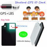 1200mAh Batería de la tarjeta de identificación de estudiante rastreador de GPS con sos T101