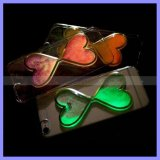 iPhone를 위한 모래 Glass Clock Quicksand Hard Phone Hourglass Case Fluorescent Noctilucent Liquid Heart Case Cover Luminous Case 6 6s Plus