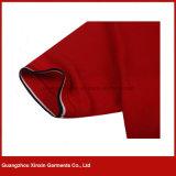 T-shirts rouges de polo de coton de la qualité des hommes faits sur commande (P171)