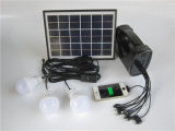 Kit de luz solar portátil con luz solar lámpara Solar de la luz solar con 3pcs lámpara con radio FM
