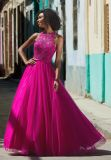 Halter отбортовал Fuchsia платье выпускного вечера (42095)