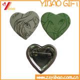 Bouton de forme de coeur de l'étain d'un insigne avec l'impression CMJN (YB-BB-05)