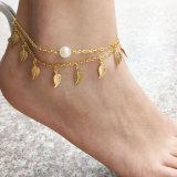 Feuille d'or Peal Décoration Bijoux de pied de la plage de Bracelet Chaîne de cheville