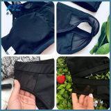 Il bikini delle donne imposta collo trasparente del costume da bagno nero del merletto l'alto