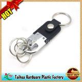 Горячее изготовленный на заказ кожаный Keychain с металлом (TH-05064)