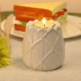 Supporto di candela di ceramica bianco dell'indicatore luminoso del tè