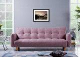 Base Home nova do sofá da tela da cor-de-rosa da mobília com pés de madeira (HC100)