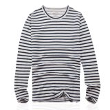 Mesdames 100% lin à manches longues T-shirt imprimé Stripe