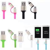 Modèle plat USB micro et foudre 2 en 1 câble de remplissage pour tout le Smartphone