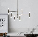 Suspensión decorativa del dormitorio de la sala de estar del estilo postmoderno que cuelga la iluminación de la lámpara pendiente en negro/color del oro