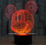 Таможня формирует свет ночи датчика СИД USB 3D Mickey светильника таблицы декоративного цвета изменяя при управляемая батарея