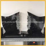 Hoch absolutes Shanxi-/Indien-schwarzes Granit-Polierdenkmal mit dem Blumen-Schnitzen