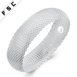 Voga 925 Bracelet&#160 anchos netos de plata simples; para la muchacha