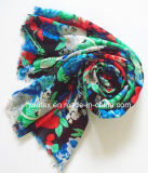 100% Polyester Lady Scarf Multicolor Flower Imprimé Design (HWBPS107)