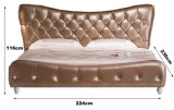 Bett des moderner Entwurfs-König-Size Button Tufted Leather (HC337)