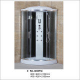 Cabine ronde de douche de profil de chrome de toit avec la douche de main d'étagère de six gicleurs